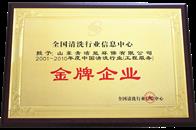 中国清洗行业金牌企业证书